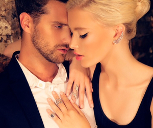 blonde, make up, and couple image