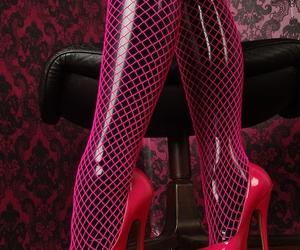 fashion, latex, and heels image