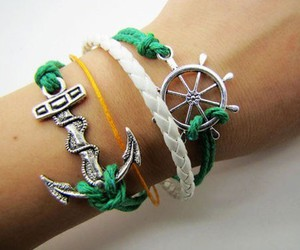bracelet, anchor, and green image
