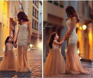 dress, lovely, and mum and daughter image