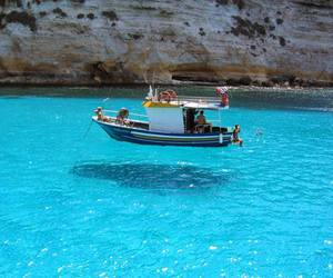 boat, water, and blue image