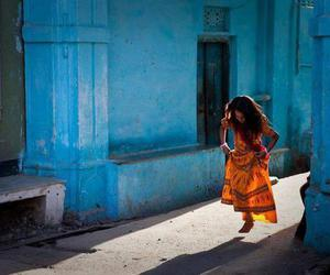 girl, blue, and india image
