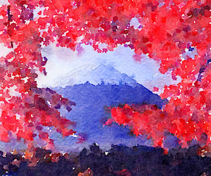 japan, leaves, and mountain image