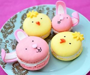 yellow, macarons, and pink image