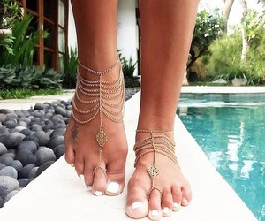 feet, jewelry, and summer image