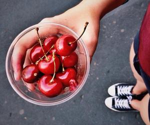 cherry, food, and girl image