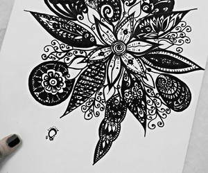doodle, black, and flowers image