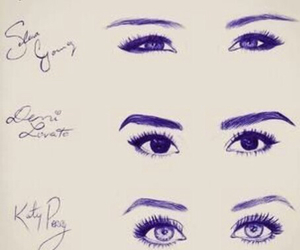 eyes, selena gomez, and demi lovato image