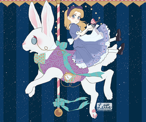 alice in wonderland, rabbit, and carousel image