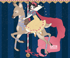 deer, snow white, and carousel image