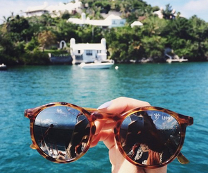 summer, glasses, and ocean image