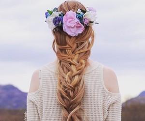 flowers, braid, and hair image