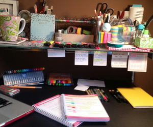 colours, computer, and desk image