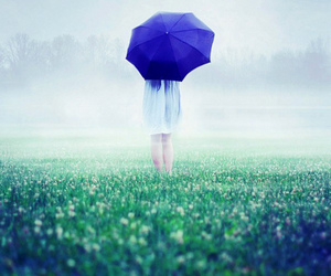 girl, umbrella, and rain image