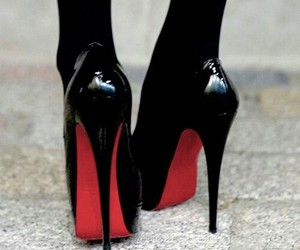 heels, black, and red image