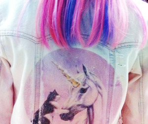 unicorn, cat, and hair image