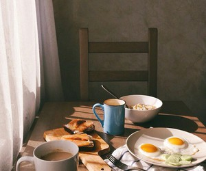 breakfast, eggs, and coffee image