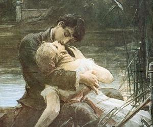 kiss, couple, and art image