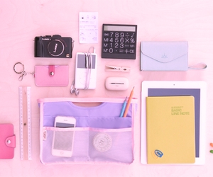 pink, stuff, and school image