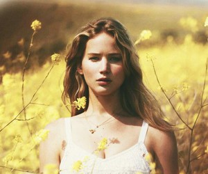 Jennifer Lawrence, actress, and flowers image