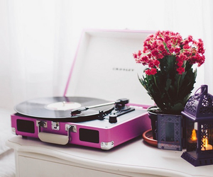 flowers, music, and pink image