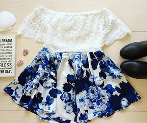blue, outfit, and white image