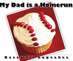 fathers day gift ideas, baseball cupcakes, and fathersday cupcakes image