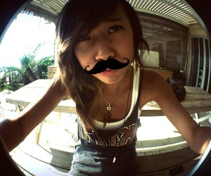girl, mustache, and whiskers image