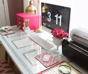 pink, desk, and room image