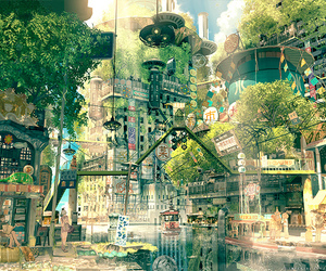 anime, city, and art image