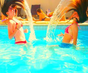 girls, summer, and swimming pool image