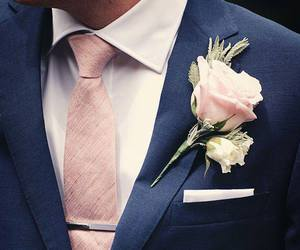wedding, rose, and suit image