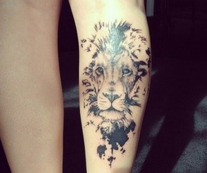 black, tattoo, and lion image