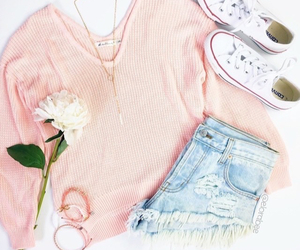 cute outfit, pretty clothes, and pink sweater image