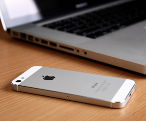 iphone, apple, and laptop image