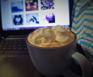 coffee, computer, and Hot image