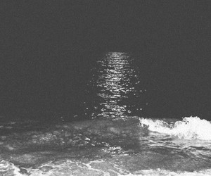 beach, moon, and black and white image