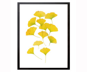 gold home decor, ginkgo leaves, and gold wall decor image