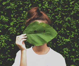 girl, green, and plants image