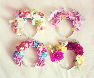flowers, flower crown, and pink image