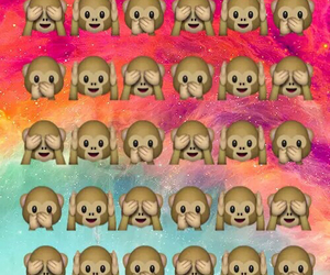 wallpaper, monkey, and emoji image