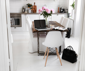 kitchen, bag, and flowers image