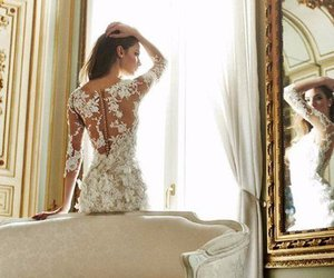 dress, glamour, and wedding dress image
