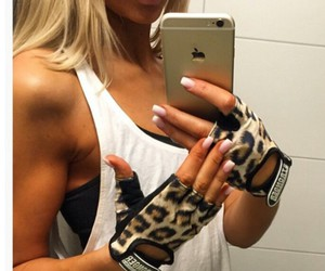 accesories, gym, and leopard image