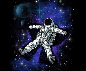 astronaut, black, and cosmos image