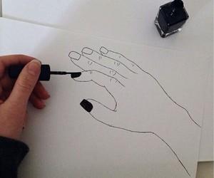 black, nails, and art image