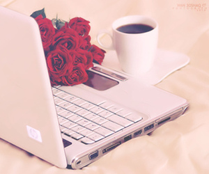 rose, coffee, and computer image