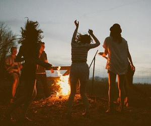 summer, friends, and bonfire image