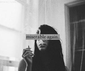 miserable, girl, and smoke image