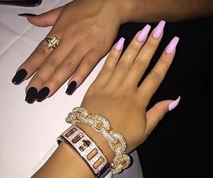 nails, black, and bracelet image
